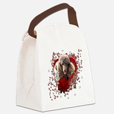 Valentine_Red_Rose_Poodle_Chocola Canvas Lunch Bag