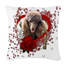 Valentine_Red_Rose_Poodle_Choc Woven Throw Pillow
