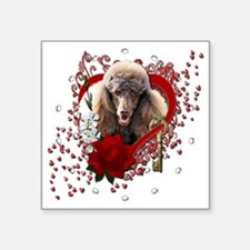 "Valentine_Red_Rose_Poodle_C Square Sticker 3"" x 3"""