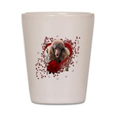 Valentine_Red_Rose_Poodle_Chocolate Shot Glass