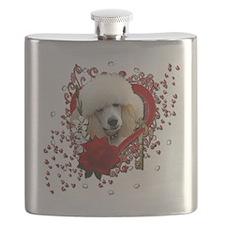Valentine_Red_Rose_Poodle_Apricot Flask
