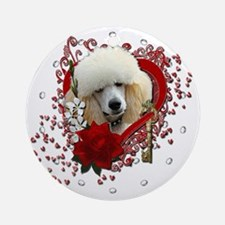 Valentine_Red_Rose_Poodle_Apricot Round Ornament