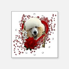 """Valentine_Red_Rose_Poodle_A Square Sticker 3"""" x 3"""""""