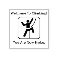 """ClimbingBroke Black Square Sticker 3"""" x 3"""""""