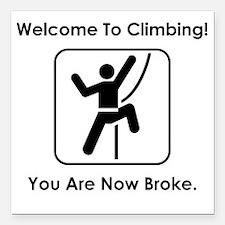 """ClimbingBroke Black Square Car Magnet 3"""" x 3"""""""