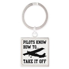 PilotsTakeOff Black Square Keychain