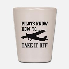 PilotsTakeOff Black Shot Glass