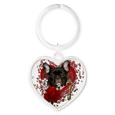 Valentine_Red_Rose_French_Bulldog_T Heart Keychain