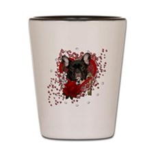 Valentine_Red_Rose_French_Bulldog_Teal Shot Glass