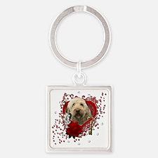 Valentine_Red_Rose_GoldenDoodle Square Keychain