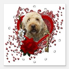 "Valentine_Red_Rose_Golde Square Car Magnet 3"" x 3"""