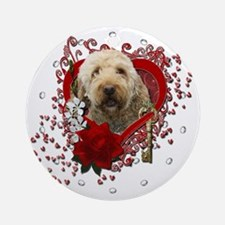 Valentine_Red_Rose_GoldenDoodle Round Ornament