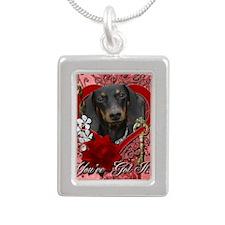 Valentine_Red_Rose_Dachs Silver Portrait Necklace