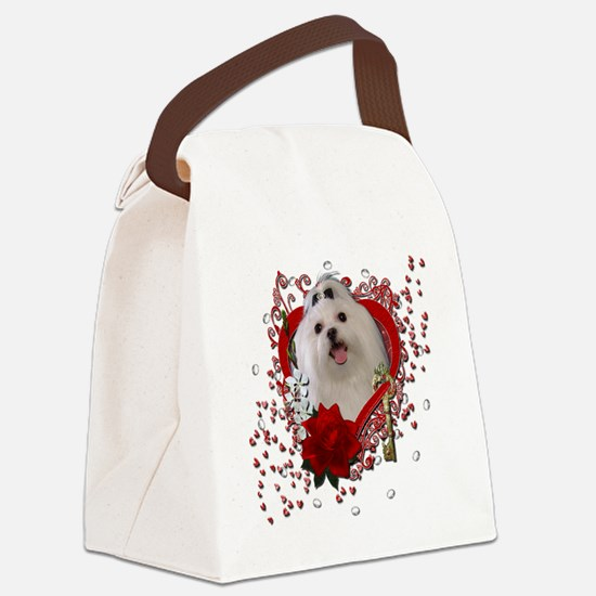 Valentine_Red_Rose_Maltese Canvas Lunch Bag