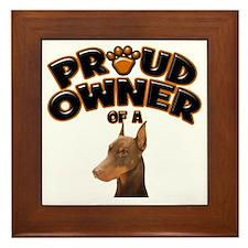 Proud Owner of a Doberman Framed Tile