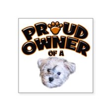"Proud Owner of a Schnoodle Square Sticker 3"" x 3"""