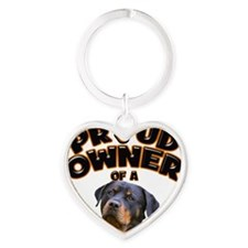Proud Owner of a Rottweiler 2 Heart Keychain