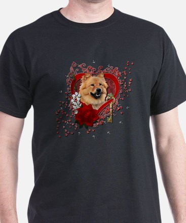 Valentine_Red_Rose_Chow_Chow_Cinny T-Shirt