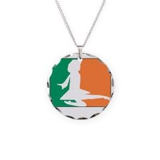 ID TriColor Girl DARK 10x10_ Necklace Circle Charm