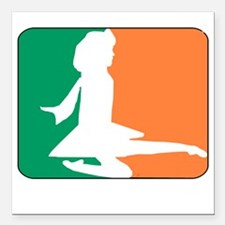 "ID TriColor Girl DARK 10 Square Car Magnet 3"" x 3"""