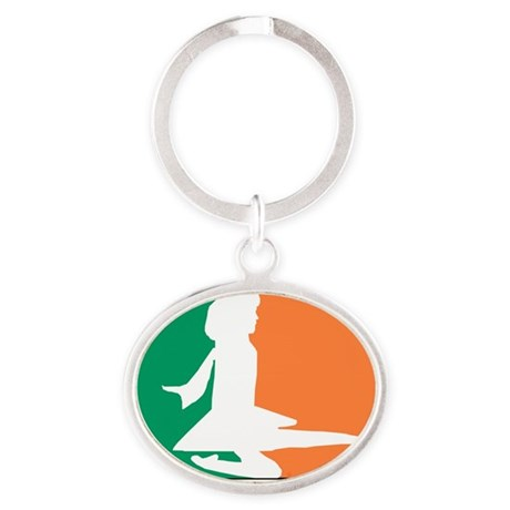 ID TriColor Girl 10x10_apparel Oval Keychain