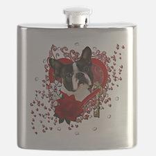 Valentine_Red_Rose_Boston_Terrier Flask
