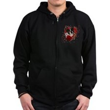 Valentine_Red_Rose_Boston_Terrie Zip Hoodie
