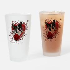 Valentine_Red_Rose_Boston_Terrier Drinking Glass