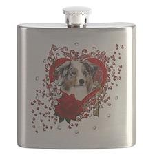 Valentine_Red_Rose_Australian_Shepherd Flask