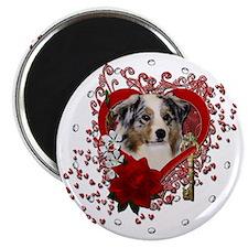 Valentine_Red_Rose_Australian_Shepherd Magnet