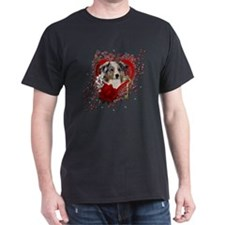Valentine_Red_Rose_Australian_Shepher T-Shirt