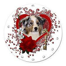 Valentine_Red_Rose_Australian_She Round Car Magnet