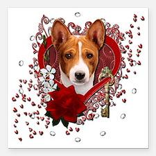 "Valentine_Red_Rose_Basen Square Car Magnet 3"" x 3"""