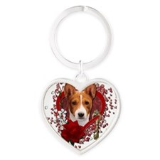 Valentine_Red_Rose_Basenji Heart Keychain
