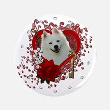 "Valentine_Red_Rose_American_Eskimo 3.5"" Button"
