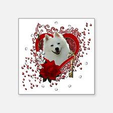 "Valentine_Red_Rose_American Square Sticker 3"" x 3"""