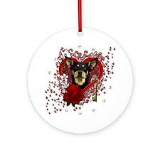 Valentine_Red_Rose_Australian_Kelpi Round Ornament