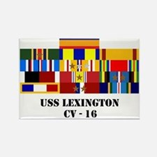 uss-lexington-cv-16-group-text Rectangle Magnet