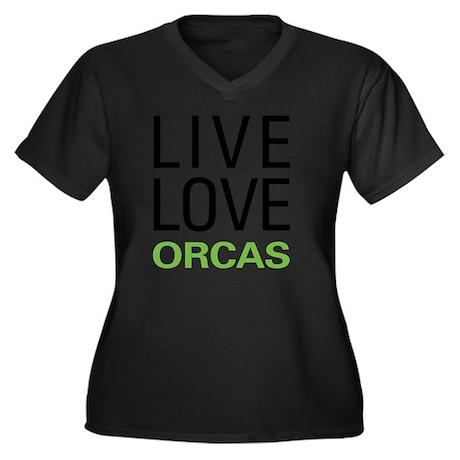 liveorca Women's Plus Size Dark V-Neck T-Shirt