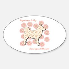 Elkhound Happiness Oval Decal