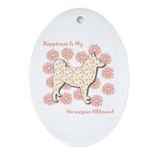 Elkhound Happiness Oval Ornament