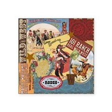 """Vintage Western cowgirl col Square Sticker 3"""" x 3"""""""