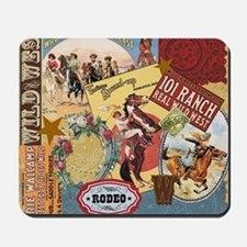 Vintage Western cowgirl collage Mousepad