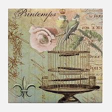 Vintage French Shabby chic birdcage Tile Coaster