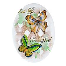 Let Go Let God Oval Ornament