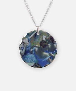 Blue Dancers by Edgar Degas Necklace Circle Charm