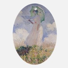 Woman with Parasol turned to the Lef Oval Ornament
