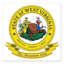 """West Virginia Seal Square Car Magnet 3"""" x 3"""""""
