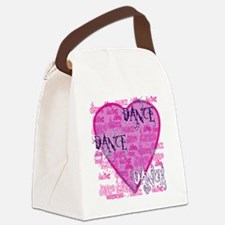 dance dance dance purple text cop Canvas Lunch Bag