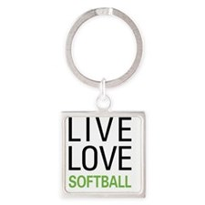 Live Love Softball Square Keychain